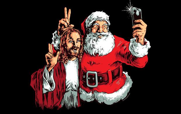 Jesus and Santa BFF Selfie T-Shirt