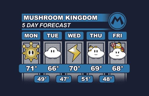 Mushroom Kingdom Weather Forecast T-Shirt